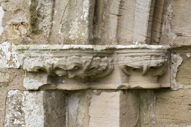 Detail of west carved capital on south doorway of church.