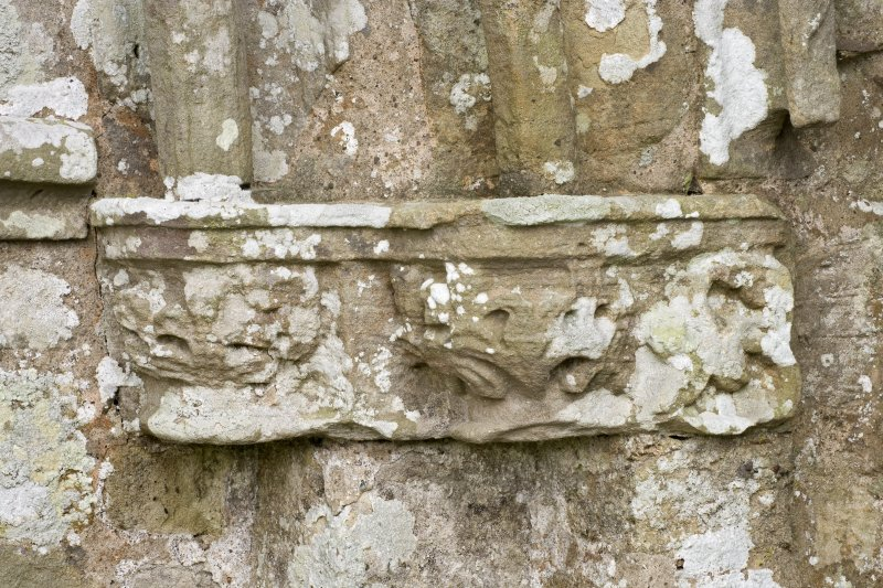 Detail of east carved capital on south doorway of church