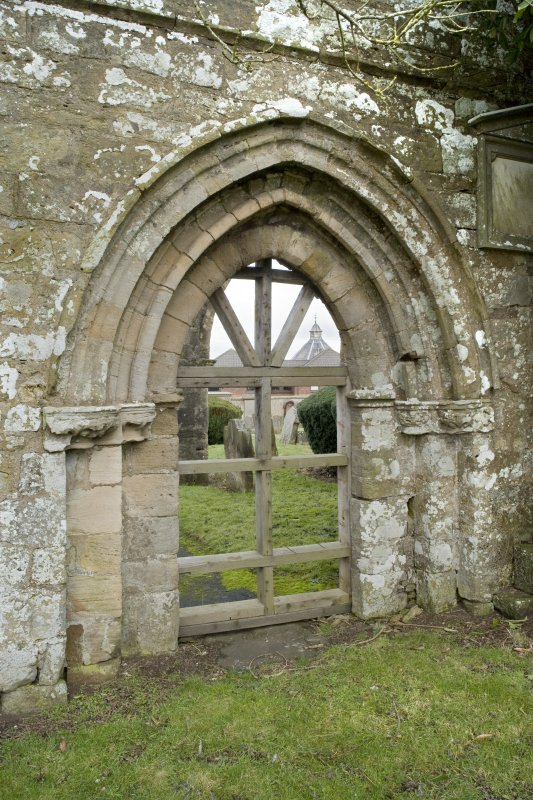 View of doorway within south wall of church, taken from south west