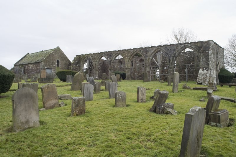 View looking across the burial ground to the N side of the church, taken from the north west