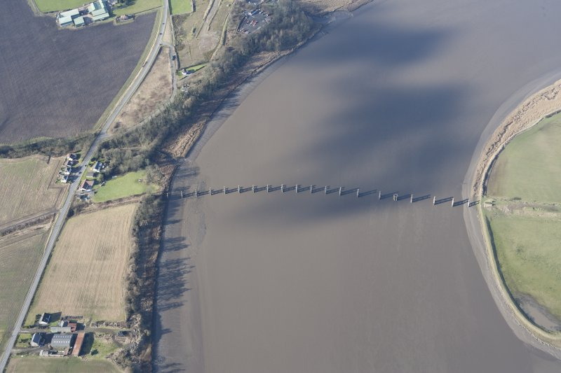 Oblique aerial view of the piers of the old Forth Rail Bridge at Alloa, taken from the E.