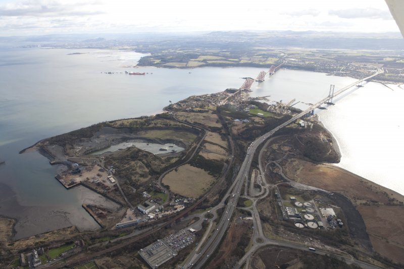 General oblique aerial view of North Queensferry, Forth Bridge and Forth Road Bridge, taken from the NW.