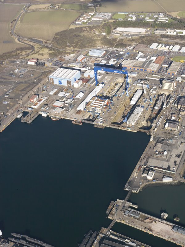 Oblique aerial view of HM Naval Base at Rosyth, taken from the S.