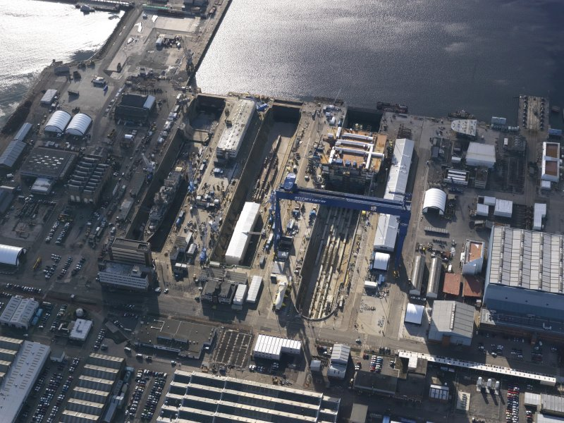 Oblique aerial view of HM Naval Base at Rosyth, taken from the N.