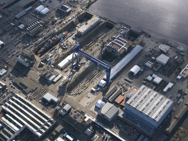 Oblique aerial view of HM Naval Base at Rosyth, taken from the NNW.