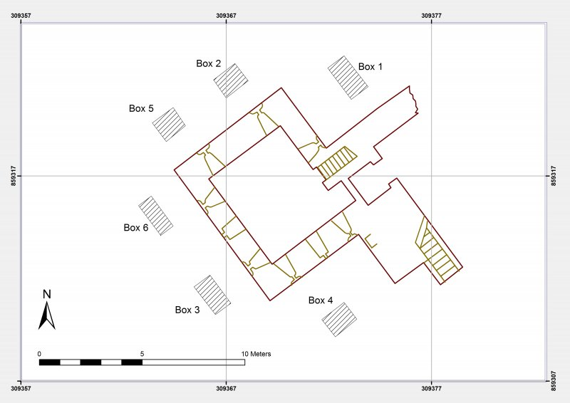 Trench plan from Photographic record and Watching brief at Burgie Castle, Moray