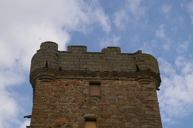 Stone detail at top of W Wall, Ground Floor, View from East