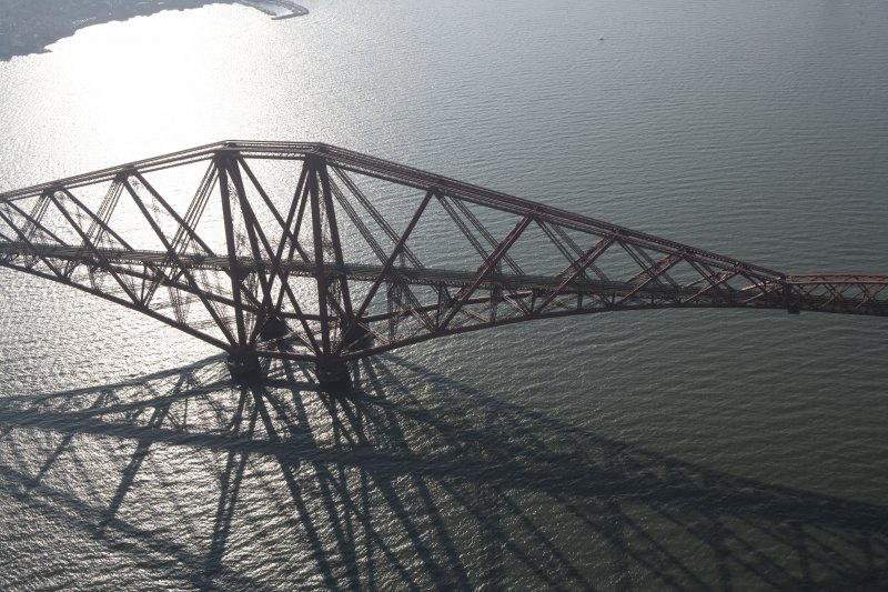 Oblique aerial view of one of the spans of the Forth Rail Bridge, looking WSW.