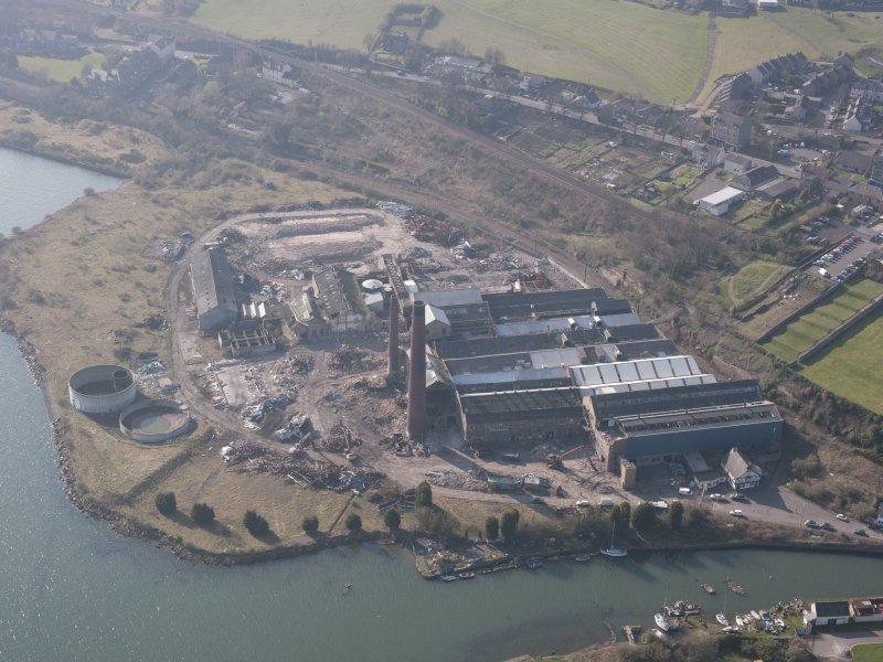 Oblique aerial view of Caldwells Mill, Inverkeithing, looking W.