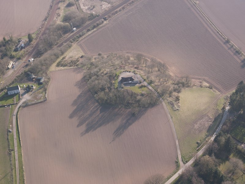 Oblique aerial view of Hilton House, looking S.