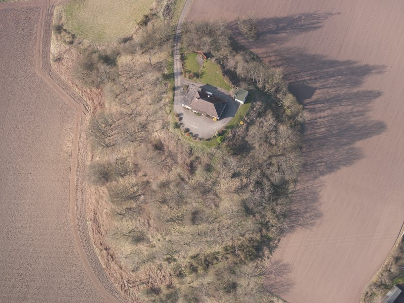 Oblique aerial view of Hilton House, looking NW.