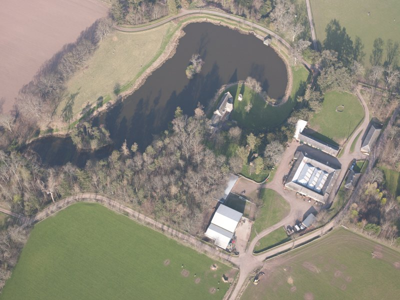 Oblique aerial view of Ecclesiamagirdle House, looking NNE.