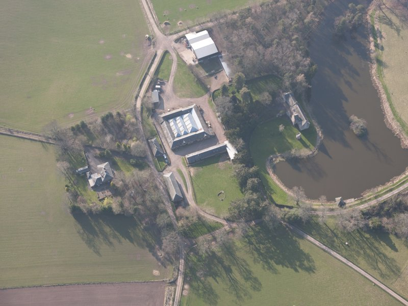 Oblique aerial view of Ecclesiamagirdle House, looking W.