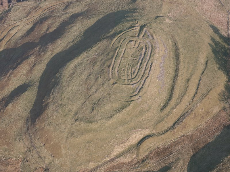 Oblique aerial view of Castle Law fort, looking E.