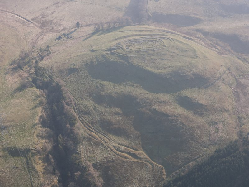 General oblique aerial view of Castle Law fort, looking S.