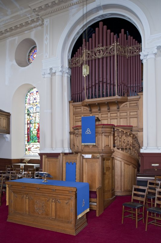 Interior. View of altar table, pulpit and organ