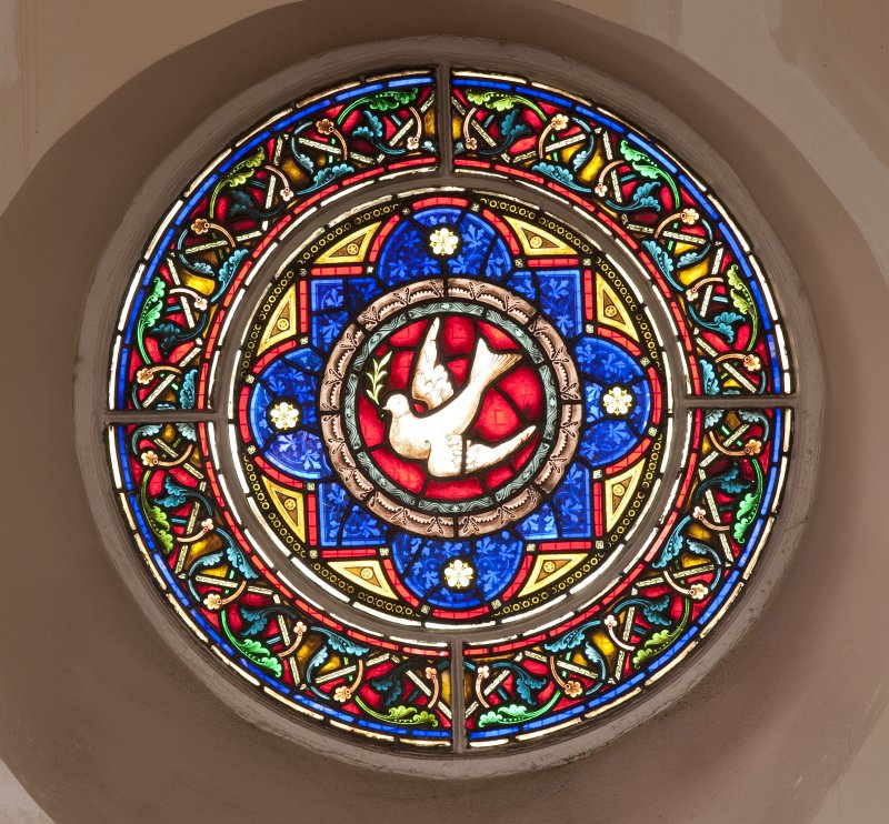 Interior. Balcony level, detail of circular stained glass window to east of pulpit