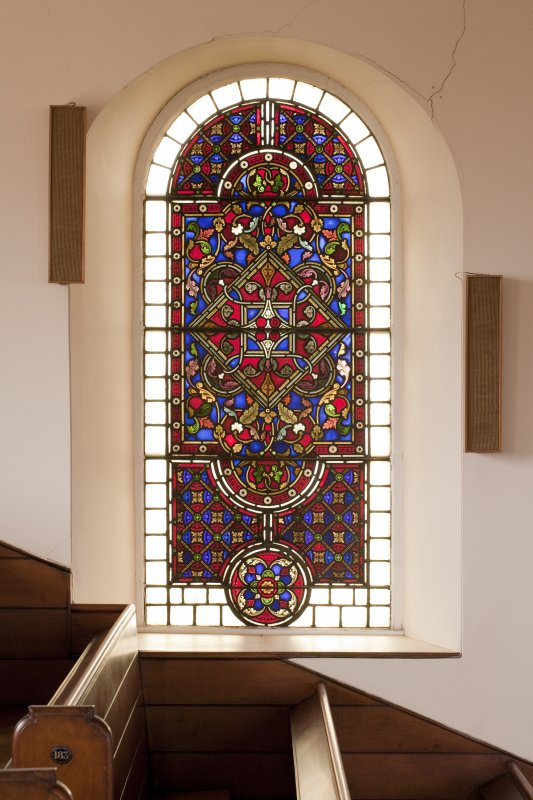 Interior. Balcony level, detail of stained glass window to east of pulpit