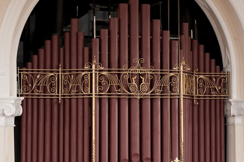 Interior. Detail of decoration on organ pipes