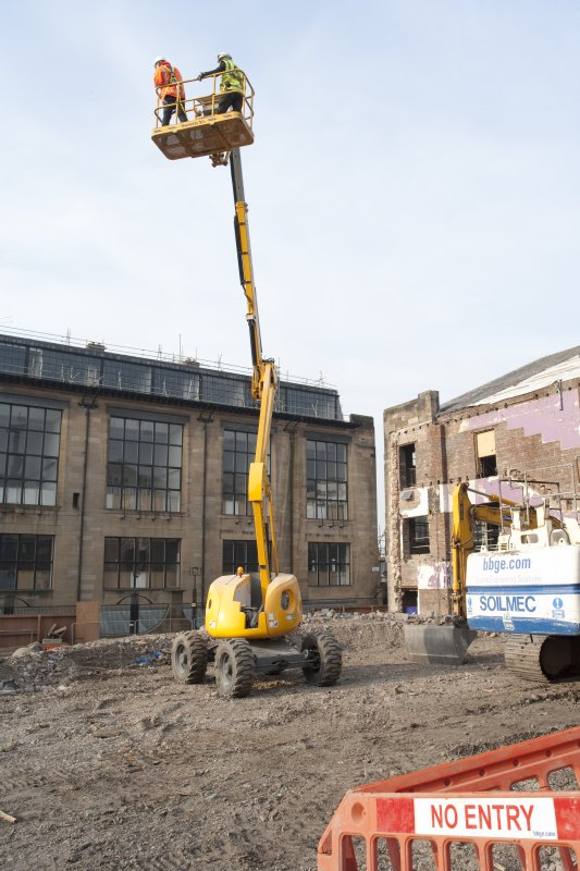 VIew of cherry picker in front of Glasgow School of Art