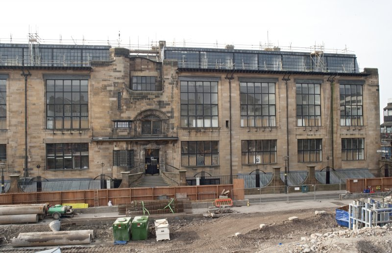 West section of Renfrew Street facade from cherry picker to north