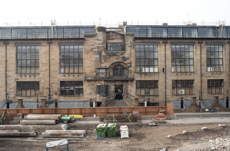 Central section of Renfrew Street facade from cherry picker to north