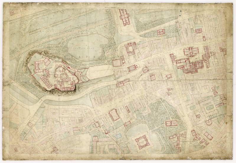 Ordnance Survey Map of Edinburgh. Coloured 1st edition ' Edinburgh and its Environs', Sheet 35. Includes Edinburgh Castle, St Giles Cathedral, Greyfriars Church, George Heriot's School and  Grassmarket.