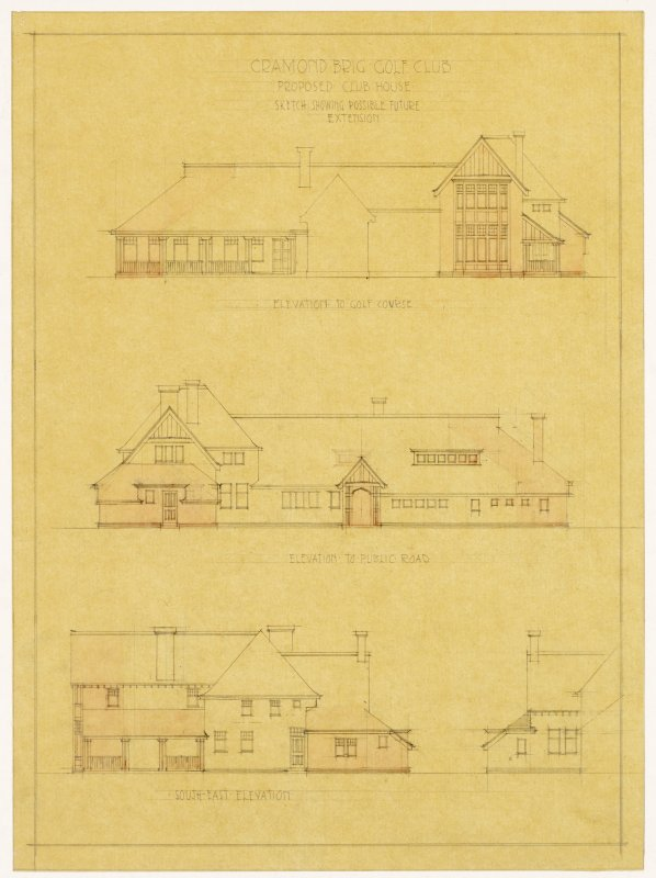 Cramond Brig Golf Club, Edinburgh. Elevations showing possible future extension to the club house.