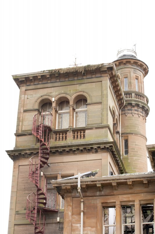 Details of N and S towers, with iron spiral staircase  from S