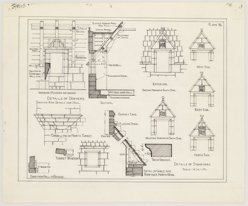 Gilbertfield House. Plan showing details of dormer windows, corbelling, turret window and gable.