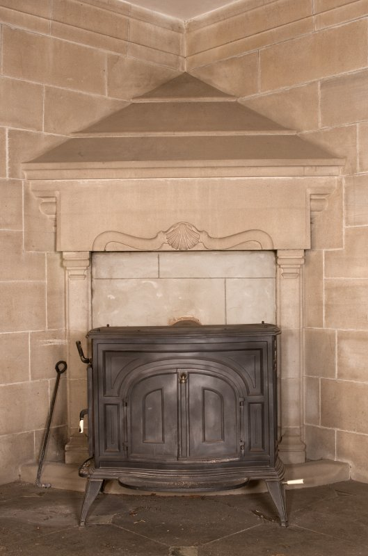 Interior. Ground floor, hall, detail of fireplace in south east orner