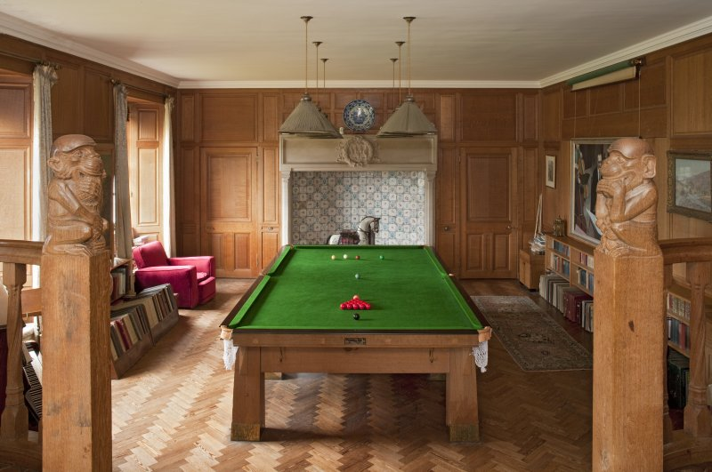 Interior view of billiard room, groud floor from south including monkey newels, Ardkinglas House.