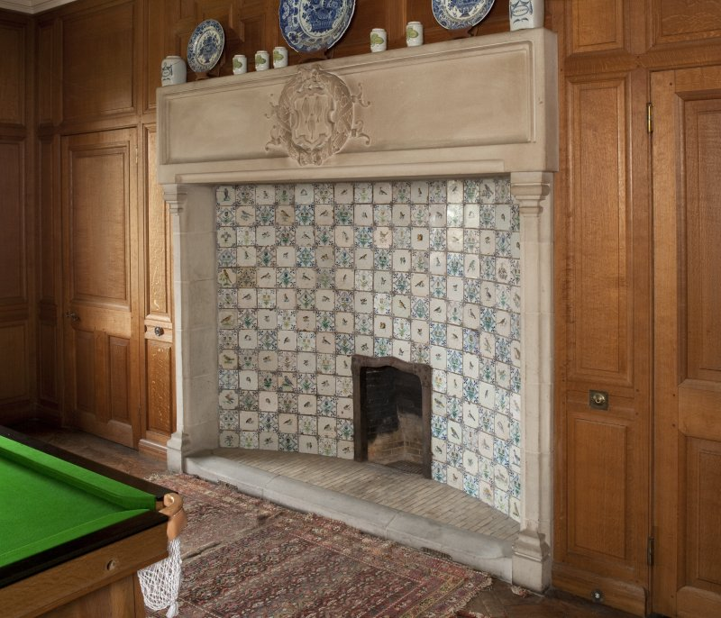 Ardkinglass House. Ground floor, billiard room, detail of fireplace