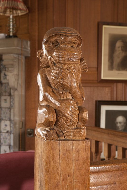 Interior view of Ardkinglas House showing detail of monkey newel in ground floor smoking room.
