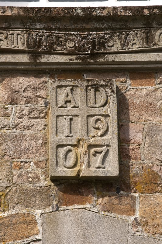 Detail of datestone (1907) above east entrance