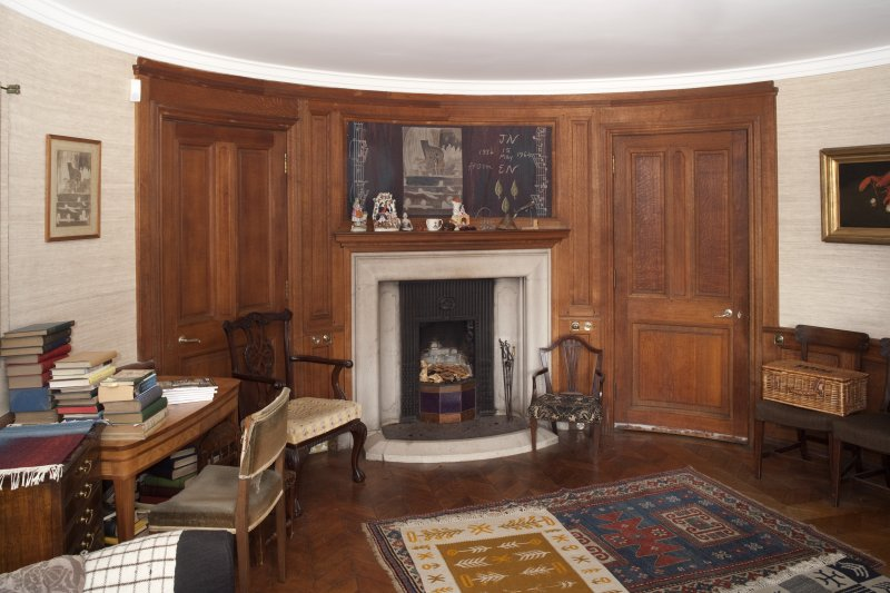 Interior. Ground floor, Sir Andrew's room, view from south showing curved doors and fireplace