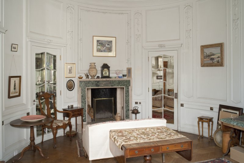 Interior. 1st floor, morning room, view from south showing mirrored doors and fireplace