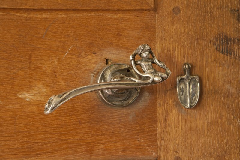 Interior. 1st floor, morning room, detail of door handle