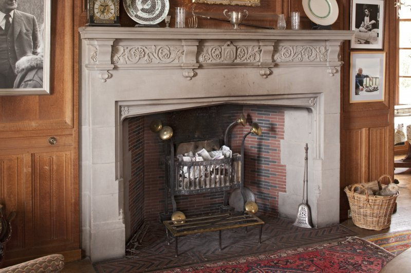 Interior. 1st floor, dining room, view of fireplace