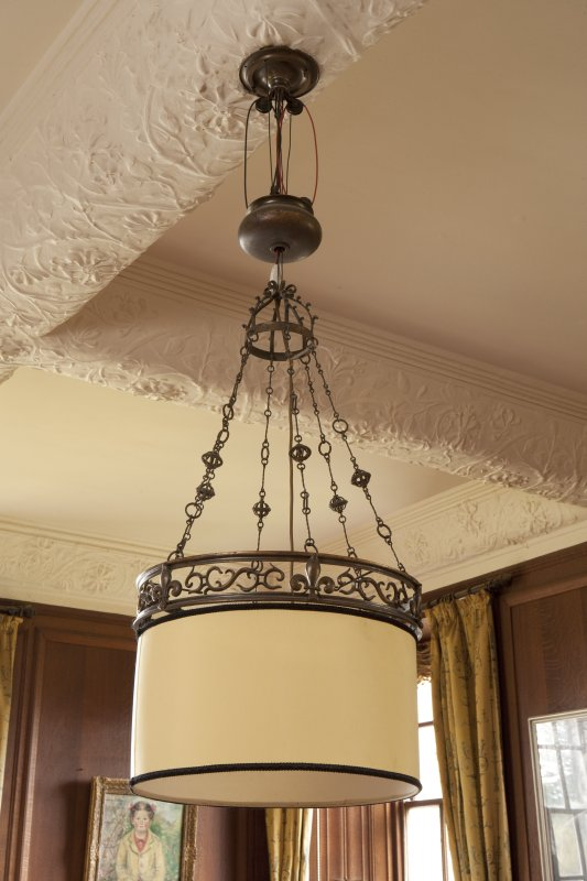 Interior. 1st floor, dining room, detail of light fitting