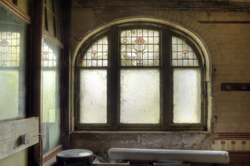 View of window in ladies' toilets.