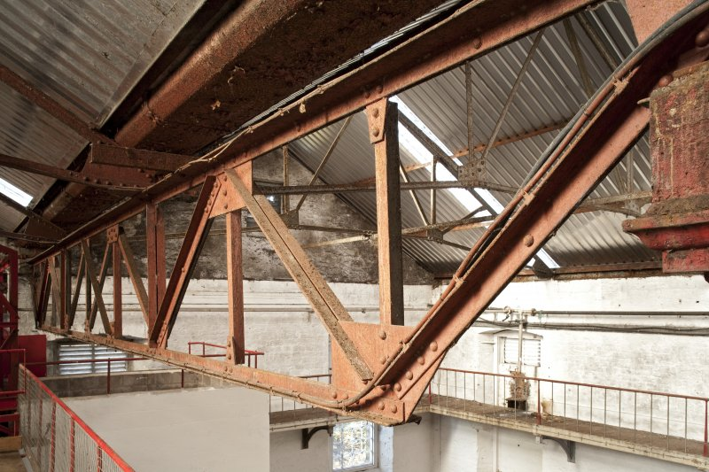 Interior. Turbine house, upper level, view of roof truss