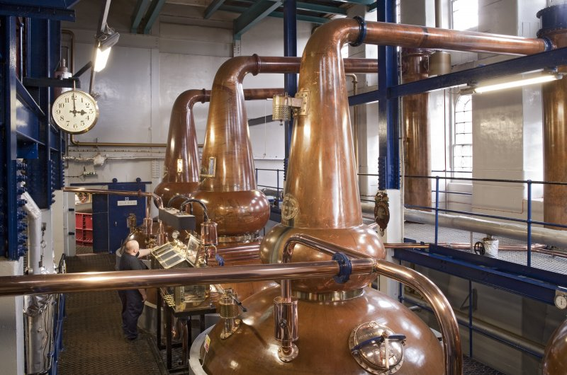 Interior. Still house, view of copper stills