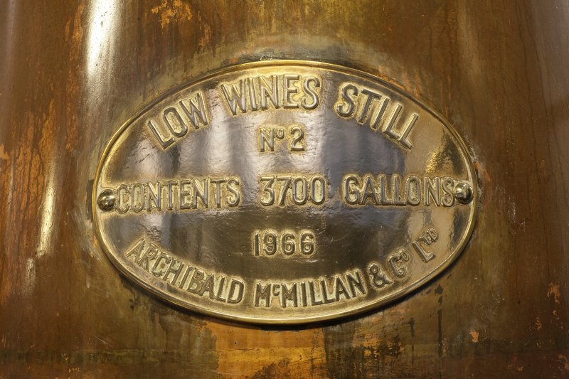 Interior. Still house, copper still, detail of manufacturer's plaque