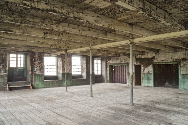 Interior. Spinning mill, 3rd floor, main room, view from north