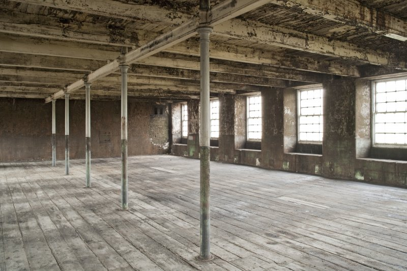 Interior. Spinning mill, 3rd floor, main room, view from south