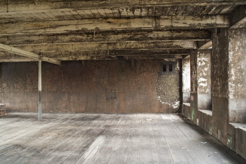Interior. Spinning mill, 3rd floor, main room, detail of end wall in north east corner
