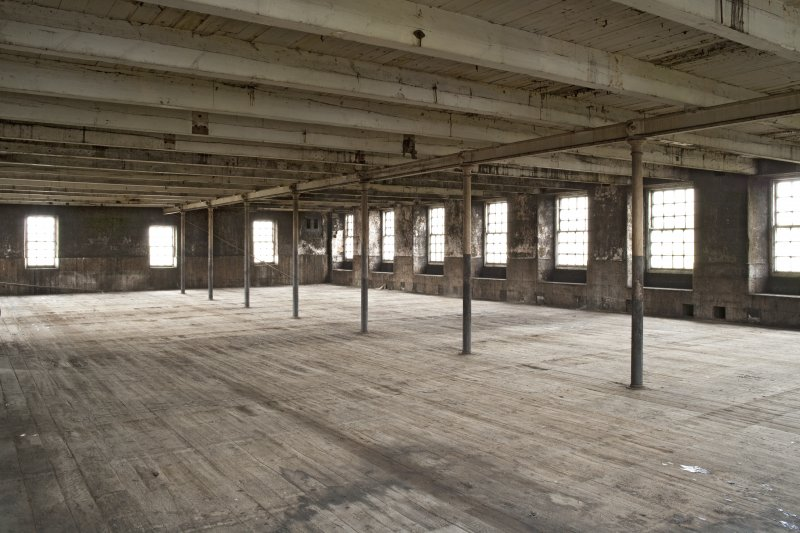 Interior. Spinning mill, 4th floor, main room, view from south