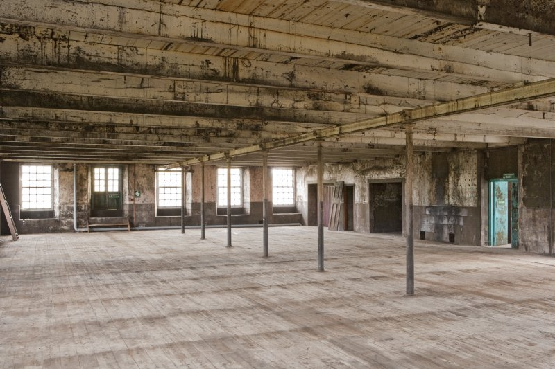 Interior. Spinning mill, 4th floor, main room, view from north