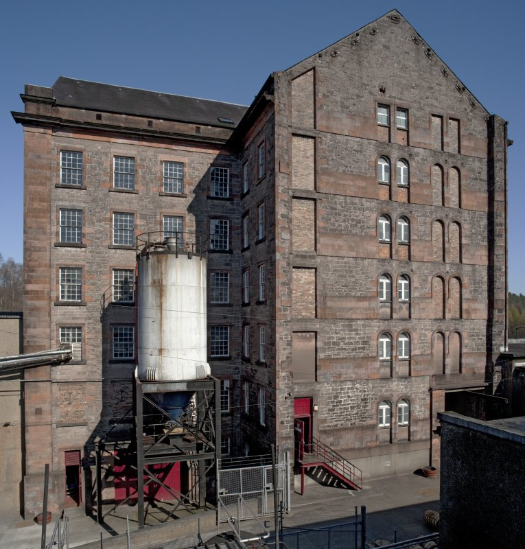 Composite view of spinning mill from roof of bonded warehouse to west